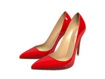 Female red high-heeled shoes Stock Images