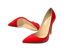 Female red high-heeled shoes Royalty Free Stock Photography