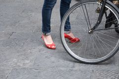 Female in red Italian shoes in Florence, Italy Stock Photos