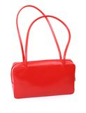 Female red leather handbag Royalty Free Stock Images