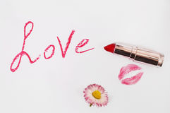 Female red lipstick on a white background, fashion and style Stock Photography