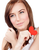 Female with red paper heart Stock Image
