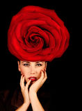 Female with red rose hat Royalty Free Stock Photos