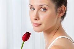 Female With Red Rose Stock Photo