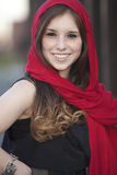 Female with red scarf Stock Images