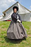 "Female Reenactors in a Dress at the ""Battle of Liberty"" - Bedford, Virginia. Bedford County, Virginia, USA – April 29th: A Female in a period stock image"
