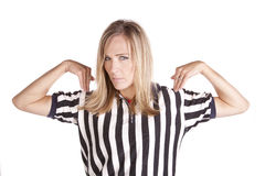 Female referee call time out Royalty Free Stock Image