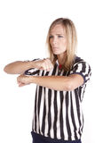 Female referee call traveling Stock Photography