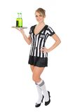 Female referee carrying drinks Stock Images