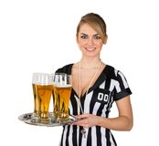 Female referee with glass of beer Royalty Free Stock Photo