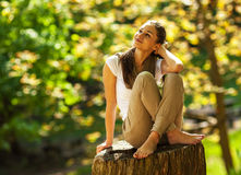 Female relaxing in nature Royalty Free Stock Photos