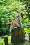 Female relaxing in nature Royalty Free Stock Photography