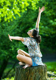 Female relaxing in nature Stock Photos