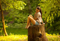 Female relaxing in nature Royalty Free Stock Images