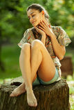 Female relaxing in nature Stock Photography