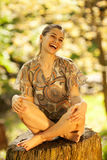 Female relaxing in nature Royalty Free Stock Image