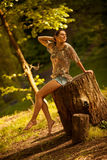 Female relaxing in nature Stock Photo