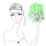Женщина Продления Жизни. Концептуальный образ: женщина - Продолжение Жизни. Обновление дерева-символа Royalty Free Stock Photos