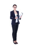 Female reporter with microphone and clipboard isolated on white. Background Royalty Free Stock Photos