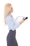 Female reporter with microphone and clipboard isolated on white Stock Photography