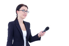 Female reporter with microphone isolated on white. Background Royalty Free Stock Photos