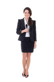 Female reporter with microphone isolated on white. Background Royalty Free Stock Images