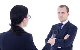 Female reporter with microphone taking interview and business ma. Female reporter with microphone taking interview and business men isolated on white background Stock Photography