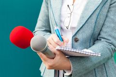 Female reporter taking notes at news conference. Journalism. Stock Photo