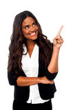 Female representative pointing away Stock Photos