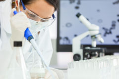 Female Research Scientist With Pipette & Flask In Laboratory Royalty Free Stock Photography