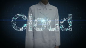 Female researcher, Engineer touched Numerous dots gather to create a Cloud typo, cloud computing concept, low-polygon web. stock video