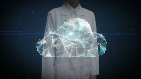 Female researcher, Engineer touched screen, Numerous dots gather to create a Cloud sign, Internet of thing concept, low-polygon stock footage