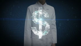 Female researcher, Engineer touched screen, Numerous dots gather to create a Dollar sign, low-polygon web. stock footage