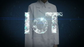 Female researcher, Engineer touched screen, Numerous dots gather to create a IoT sign, Internet of thing concept, low-polygon web. stock footage