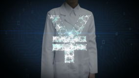 Female researcher, Engineer touched screen, Numerous dots gather to create a Yen sign, low-polygon web. stock footage