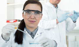 Female researcher with glass equipment in the lab Stock Images