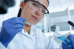 Female researcher with glass equipment in the lab Royalty Free Stock Image