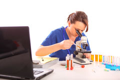 Female Researcher at a laboratory Stock Photo