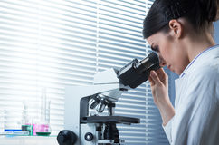 Female researcher using microscope royalty free stock photography