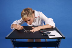 Female researcher working. Stock Photos