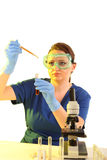 Female Researcher working with chemicals Stock Image
