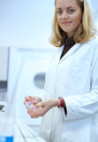 Female researcher working in a lab Stock Photo