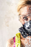 Female in respirator Royalty Free Stock Images