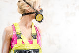 Female in respirator Royalty Free Stock Photography