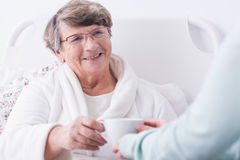 Female rest home resident. Image of positive female rest home resident Stock Images