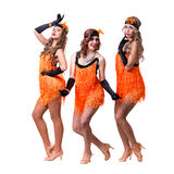 Female retro dancers showing some movements Royalty Free Stock Image
