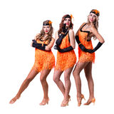 Female retro dancers showing some movements Royalty Free Stock Photography
