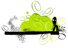 Female Retro Illustration. Silhouette of a female against a retro grunge illustration in green and black on white Royalty Free Stock Photography