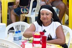 A female reveler with a nun costume at Carnival in Recife, Brazi. Recife, Brazil - February 9th, 2018: Portrait of a woman with a nun costume at the Carnival in Stock Photography