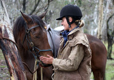 Female rider. And horse in the Australian outback Royalty Free Stock Photo